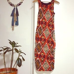 Tribal print midi dress (form fitting)